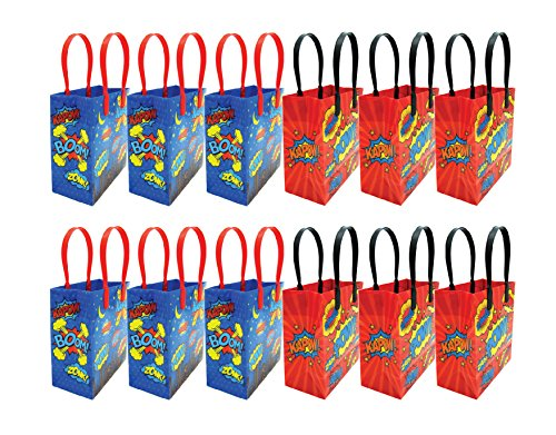 Superhero Text Party Favor Treat Bags with Handles, Superhero Candy Bags for Birthday Party, Party Supply Decorations Pack of 12