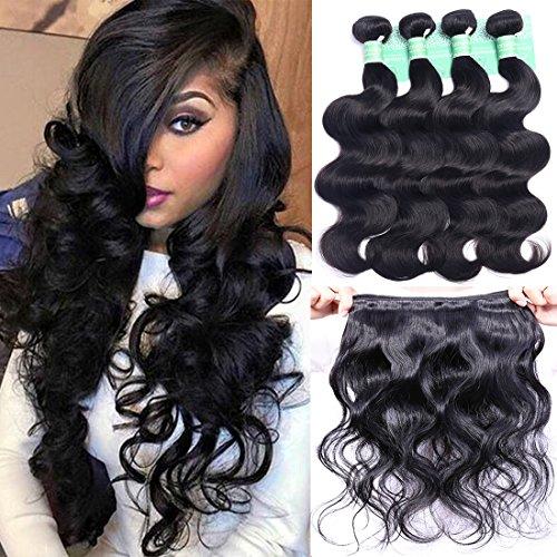 ANNELBEL Brazilian Hair Body Wave 4 Bundles 8A Virgin Unprocessed Human Hair Bundles Remy Human Hair Extensions Weave - Wavy Hair, Double Weft, Natural Black, (10', 50g)/Bundle