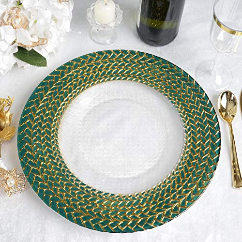 Efavormart 8 Pack 13' Glass Charger Plates Reusable Charger Plates with Teal Green and Gold Braided Rim