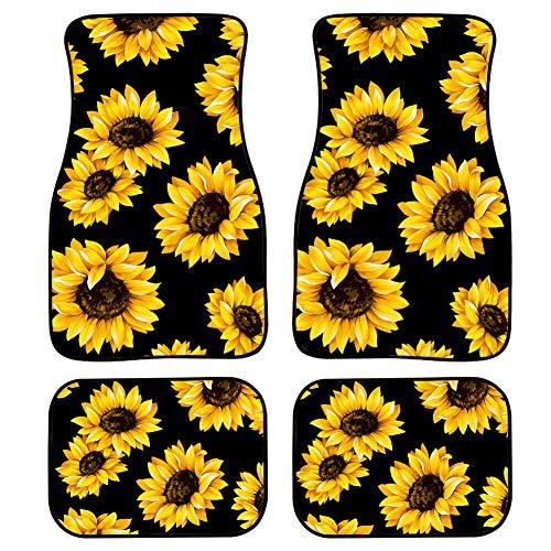 POLERO Classic Sunflower Car Floor Mats Non Slip Car Foot Pad 4pcs Car Mats Easy Use Car Foot Mats Easy Clean Car Pad Durable Floral Floor Mats for Most Cars