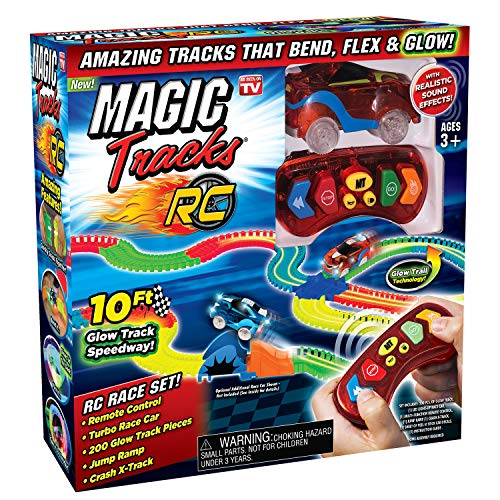 Ontel Magic Tracks RC - Remote Control Turbo Race Cars & 10 ft of Flexible, Bendable Glow in the Dark Racetrack - As Seen on TV, Color may Vary