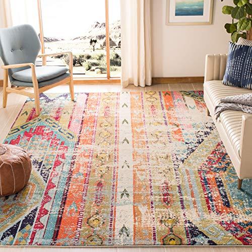 Safavieh Monaco Collection MNC222F Modern Bohemian Distressed Area Rug, 5'-1' X 7'-7', Multi
