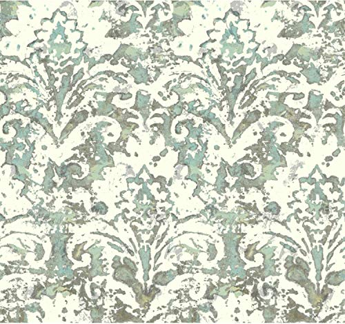 York Wallcoverings Cloud Nine Batik Damask Removable Wallpaper, Blacks/Blues