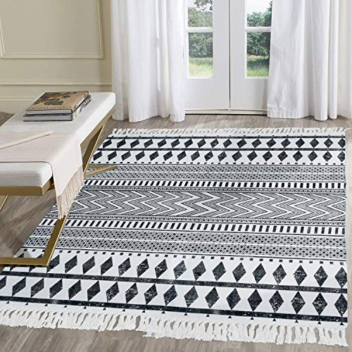 HEBE Cotton Area Rug 4' x 6' Large Hand Woven Black and White Cotton Rugs with Tassels Printed Geometric Bohe Rug for Living Room, Bedroom, Laundry Room, Entryway