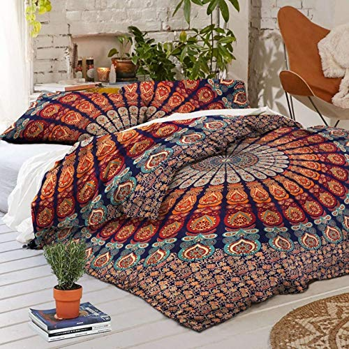 Traditional Jaipur Duvet Cover Queen Size, Peacock Feather Mandala Doona Cotton Throw, Bohemian Doona Cover, Boho Quilt Cover