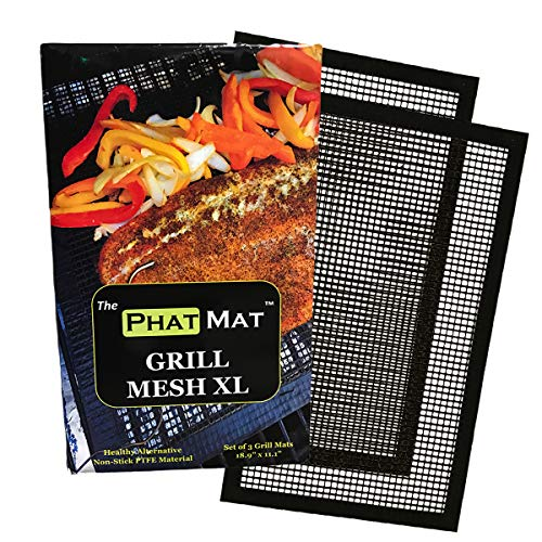 PhatMat Non Stick Grill Mesh Mats XL - Set of 2 - Nonstick Heavy Duty BBQ Grilling & Baking Accessories for Traeger, Rec Tec, Green Mountain, Smoker & Oven - 19 inches x 11 inches