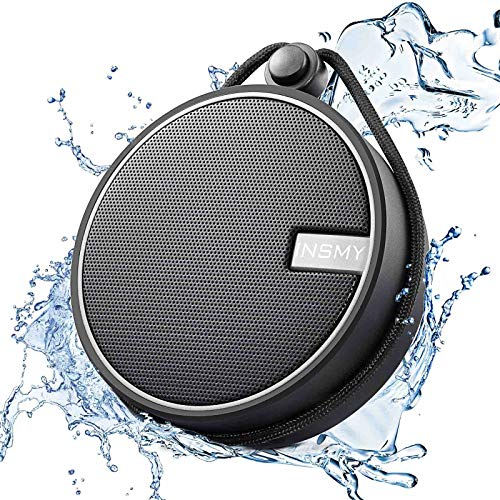 INSMY IPX7 Waterproof Shower Bluetooth Speaker, Portable Wireless Outdoor Speaker with HD Sound, Support TF Card, Suction Cup for Home, Pool, Beach, Boating, Hiking 12H Playtime (Black)