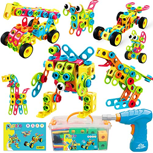 Nxone STEM Toys, 195 Piece Building Toys Educational Toys for Boys and Girls Ages 3 4 5 6 7 8 9 10 Year Old Construction Engineering Building Blocks Toy Building Sets Kids Toys with Storage Box
