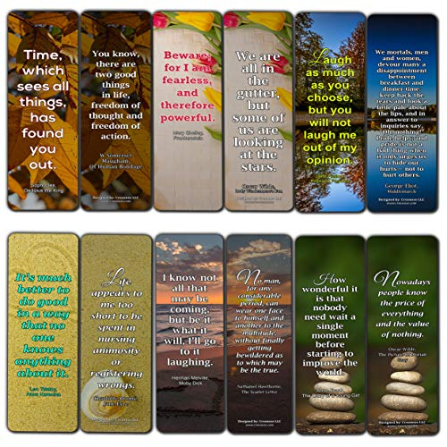 Creanoso Inspiring Classic Book Quote Sayings Bookmarks – Series 1 (30-Pack) – Stocking Stuffers Gift for Bibliophiles, Book Worms, Book Lovers, Professionals – Party Supplies – Book Club Readers