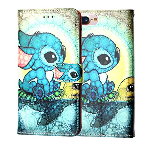 Lilo & Stitch iPhone 8 Plus / 7 Plus / 6s Plus Wallet Case, IMAGITOUCH Folio Flip PU Leather Wallet Case with Kickstand Wrist Strap and Card Slots for iPhone 8 Plus, 7 Plus, 6 Plus/ 6s Plus