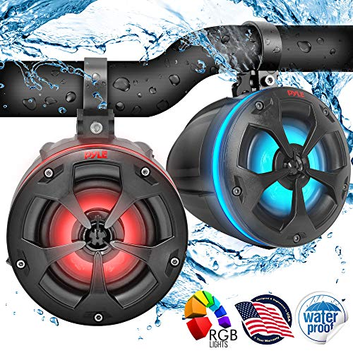 2-Way Dual Waterproof Off-Road Speakers - 4' 800W Marine Grade Wakeboard Tower Speakers System w/RGB Lights & Remote, Full Range Outdoor Audio Stereo Speaker for ATV/UTV, Jeep, Boat - Pyle PLUTV44BTR