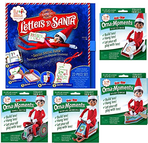 The Elf on the Shelf DIY Crafts Set: Letters To Santa Box Set, with Orna-Moments Twinkle Tractor, Snowflake Snowmobile, Scout Elf Racer, and Holiday Rowboat