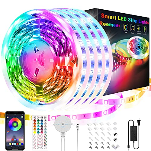 65.6ft Led Lights for Bedroom, Reemeer Led Strip Lights Music Sync Color Changing Led Lights with App Control and Remote, Led Light Strips Used for Party, Home Decoration(4 Rolls of 16.4ft)