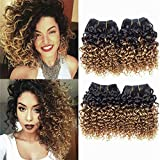 Brazilian Kinky Curly 1b 30# Hair, 8 inches 4 Bundles Human Hair 50 Gram/Bundle, 8A Unprocessed Curly Weave Bundles 1B 30# (8 8 8 8, 1B 30#)